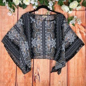 Bohemian Gypsy Sheer Pull Over Poncho Shawl 1563